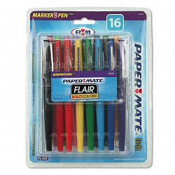 Point Guard Flair Porous Point Stick Pen Assorted Ink Medium 16 per Pack (PAP70644)