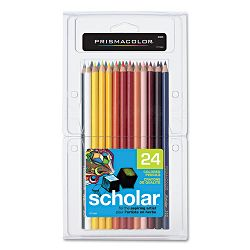 Scholar Colored Woodcase Pencils 24 Assorted ColorsSet (SAN92805)