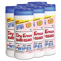 "Dry Erase Cleaner Wipes Cloth 7"" x 12"" Canister of 30 Carton of 6 (MOT42703CT)"