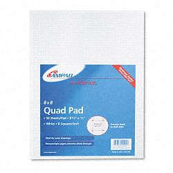 20lb Quadrille Pad with 8 Squaresinch Letter White 50 SheetsPad (AMP22005)