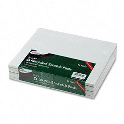 "Recycled Scratch Pad Notebook Unruled 5"" x 8"" White 100-Sheet Dozen (AMP21732)"