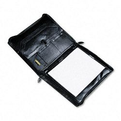 Organizer Portfolio Pad Holder Leather Zipper Gusset FilesPocketsSlots Black (BND545107BLK)