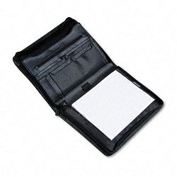 Pad Holder Leather-Look Zipper File Pockets Writing Pad Black (BND712009BLK)