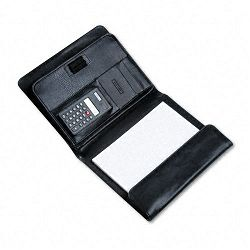 Pad Holder with Calculator Leather-Look Gusset Organizer Writing Pad Black (BND712212BLK)
