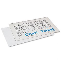 "Chart Tablets with Cursive Cover Ruled 24"" x 16"" White 25 SheetsPad (PAC74620)"