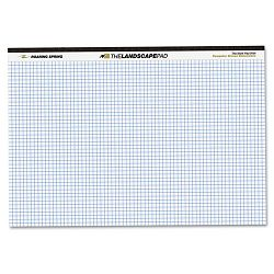 "Landscape Format Writing Pad Quad Ruled 11"" x 9-12"" White 40 SheetsPad (ROA74505)"