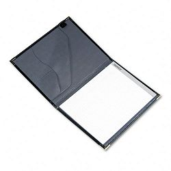 Pad Holder Leather Look with Brass Corners Writing Pad Pockets Black (SAM70010)