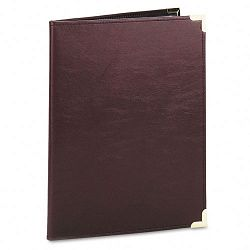 Pad Holder Leather Look with Brass Corners Writing Pad Pockets Burgundy (SAM70014)