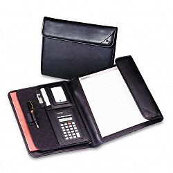 Professional Tri-Fold Padfolio with Calculator Writing Pad Vinyl Black (SAM70890)