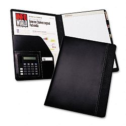 Pad Holder with Calculator Leather-LookFaux Reptile Trim Writing Pad Black (SAM71220)
