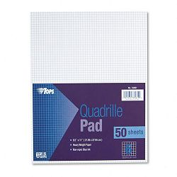 "Quadrille Pads 6 Squaresinch 8-12"" x 11"" White 50 SheetsPad (TOP33061)"