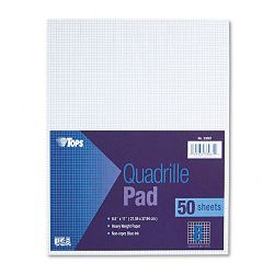 "Quadrille Pads 8 Squaresinch 8-12"" x 11"" White 50 SheetsPad (TOP33081)"