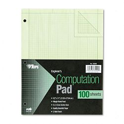 Engineering Computation Pad Quad Rule Letter Green 100 SheetsPad (TOP35500)