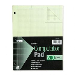 Engineering Computation Pad Quadrille Rule Letter Green 200 SheetsPad (TOP35502)