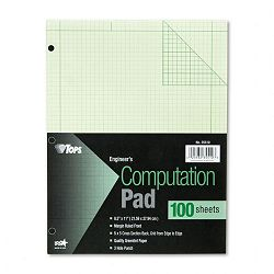 Engineering Computation Pad 5 Squares Quad Rule Letter Green 100-SheetPad (TOP35510)