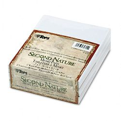 "Second Nature Recycled Scratch Pad Unruled 3"" x 5"" 12 100-Sheet PadsPack (TOP74715)"