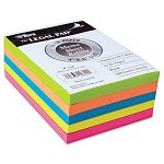 "Assorted Fluorescent Color Memo Sheets 4"" x 6"" 500 Loose SheetsPack (TOP99622)"