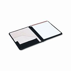 Pad Holder Suede-Lined Leather with Writing Pad Inside Flap Pocket Black (UNV32650)