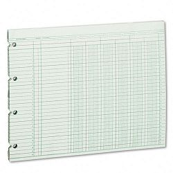 "Accounting Sheets Six Column 9-14"" x 11-78"" 100 Loose SheetsPack Green (WLJG106)"