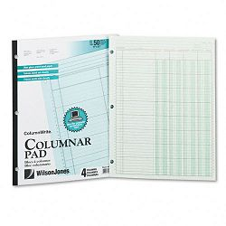 Accounting Pad Four Eight-Unit Columns Two-sided Letter 50-Sheet Pad (WLJG7204A)