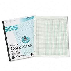 "Accounting Pad Six Six-Unit Columns 8-12"" x 11"" 50-Sheet Pad (WLJG7206A)"
