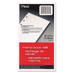 "6-Ring Memo Book Refill College Rule 6HP 6-34"" x 3-34"" 80 Sheets White (MEA46534)"