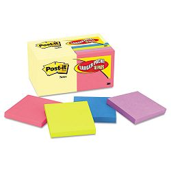 "Note Bonus Pack Pads 3"" x 3"" Canary YellowAst.100-Sheet 18Pack (MMM654144B)"