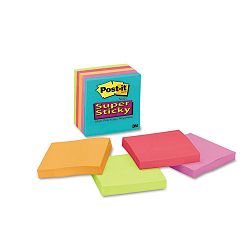 "Super Sticky Notes 3"" x 3"" 90 Sheets Per Pad Assorted Colors 5Pack (MMM6545SSMB)"