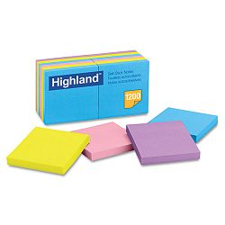 "Sticky Note Pads 3"" x 3"" Assorted 100 Sheets (MMM6549B)"