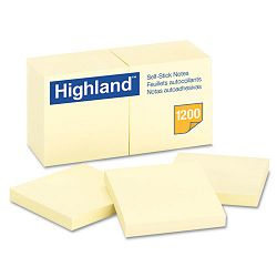 "Self-Stick Pads 3"" x 3"" Yellow 100 SheetsPad 12 PadsPack (MMM6549YW)"