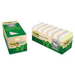 "Recycled Notes 3"" x 3"" Pastel 24 75-Sheet PadsPack (MMM654R24CPAP)"
