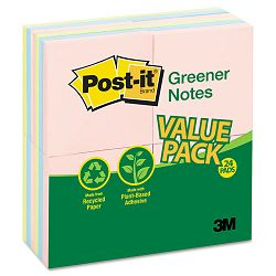 Original Recycled Note Pads 100 3 x 3 Sheets Assorted Pastels 24 PadsPack (MMM654RP24AP)