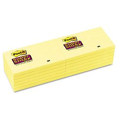 "Super Sticky Notes 3"" x 5"" Canary Yellow 12 90-Sheet PadsPack (MMM65512SSCY)"