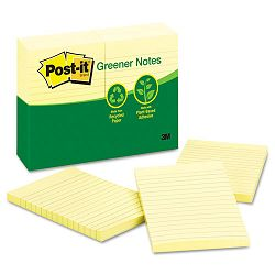 "Recycled Notes 4"" x 6"" Lined Canary Yellow 12 100-Sheet PadsPack (MMM660RPYW)"