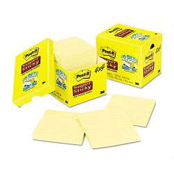 "Super Sticky Notes 4"" x 4"" Lined Canary Yellow 12 90-Sheet PadsPack (MMM67512SSCP)"