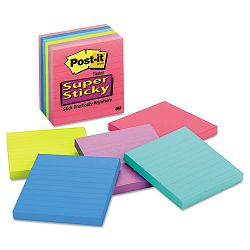 "Super Sticky ULettera Notes 4"" x 4"" Lined Five Colors 6 90-Sheet PadsPack (MMM6756SSUC)"