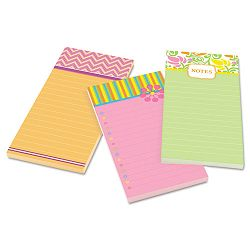 "Assorted Printed Note Pads 4"" x 8"" Lined 75 SheetsPad 3 PadsPack (MMM7366OFF3)"