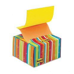 "Pop-up Notes in a Desk Grip Decorative Box 3"" x 3"" Multicolor Stripes (MMMB330BS)"