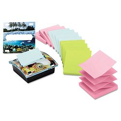 "Clear Top Pop-up Note Dispenser with 12 3"" x 3"" Pastel Self-Stick Pads Black (MMMDS330VA)"