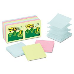 "Recycled Pop-Up Notes Refill 3"" x 3"" Pastel 100 SheetsPad 12 PadsPack (MMMR330RP12AP)"