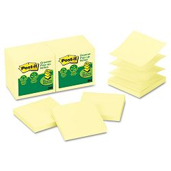 "Recycled Pop-Up Notes Refill 3"" x 3"" Canary YW100 SheetsPad 12 PadsPack (MMMR330RP12YW)"