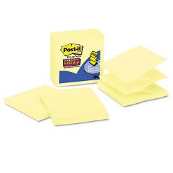 "Super Sticky Pop-Up Refills 4"" x 4"" Canary Yellow Lined 5 90-Sheet PadsPack (MMMR440YWSS)"