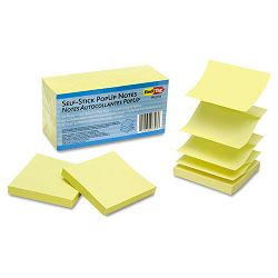 "Self-Stick Pop-Up Note Refills 3"" x 3"" Yellow 12 100-Sheet PadsPack (RTG23703)"