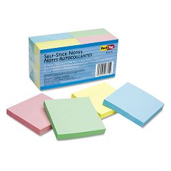 "Self-Stick Notes 3"" x 3"" Four Pastel Colors 12 100-Sheet PadsPack (RTG23715)"