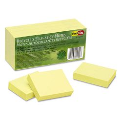 "100% Recycled Notes 1 12"" x 2"" Yellow 12 100-Sheet PadsPack (RTG25700)"