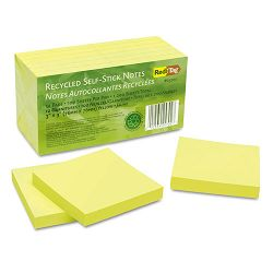 "100% Recycled Notes 3"" x 3"" Yellow 12 100-Sheet PadsPack (RTG25702)"