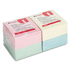 "Standard Self-Stick Notes 3"" x 3"" 4 Pastel Colors 12 100-Sheet PadsPack (UNV35669)"