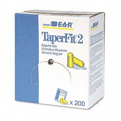 TaperFit 2 Self-Adjusting Ear Plugs Uncorded Foam Yellow Box of 200 Pairs (MMM3121219)