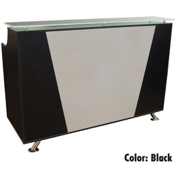 Mikaela Reception Desk with Frosted Glass Top - 4' Wide Available in Black Cherry and Pearwood (PL1119-4FT)