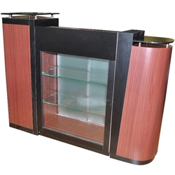 Gabriella Reception Desk with Marble Top + Display Case Available in Cherry and Pearwood (AN901)